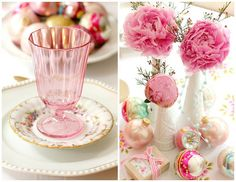 Mixed china - pink depression glass and antique roses!