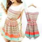 New Women's Colorful Stripes Summer Chiffon Dress Clubwear With Bowknot Belt O