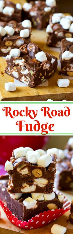Rocky Road Fudge with marshmallows and almonds. Rocky Road Fudge is loaded with chopped almonds and marshmallows. It's ultra-rich and only takes 10 minutes to make. Rocky Road Fudge, Rocky Road Cake, Christmas Desserts, Christmas Baking, Christmas Goodies, Christmas Candy, Holiday Foods, Christmas Recipes, Christmas Time