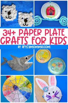 Craft ideas for kids to make using paper plates including animals, holidays & just for fun! Paper Plate Crafts For Kids, Animal Crafts For Kids, Crafts For Kids To Make, Kids Crafts, Hedgehog Craft, Diy Craft Projects, Craft Ideas, Handprint Art, Cardboard Art