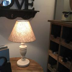Antique White Table Lamp And Linen Shade