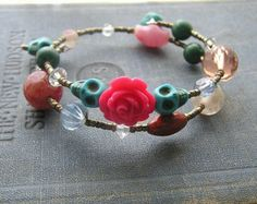 Day of the Dead bracelet wrap around memory wire pink rose blue skulls Vintage glass beads and gemstones