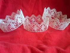 Yolanda Simple white delicate lace cotton crown by SandrasGifts, $8.00