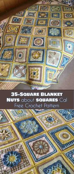 35-Square Blanket - Nuts about Squares CAL [Free Crochet Pattern] Afgan, Throw, Bedspread