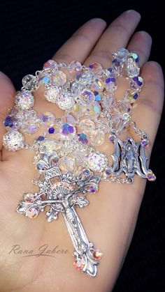 Miraculous Medal Wedding Rosary made with crystals from Swarovski®