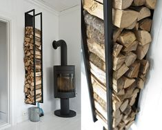 What a handy way to store wood for the stove. So much better than trudging out into the snow.