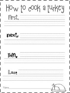 Sequencing - How to Cook a Turkey Writing Kindergarten Writing, Teaching Writing, Writing Activities, Writing Prompts, Teaching Ideas, Literacy, Writing Ideas, Expository Writing, Preschool Ideas