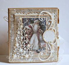 An ethereal Shabby Chic handmade Christmas Card by Wybrich Homemade Christmas Cards, Vintage Christmas Cards, Xmas Cards, Vintage Cards, Homemade Cards, Victorian Christmas, Vintage Ornaments, Vintage Santas, Shabby Chic Karten
