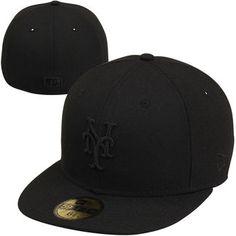 708030b39b7be Men s New York Mets New Era Black Tonal 59FIFTY Fitted Hat New York Mets  Baseball