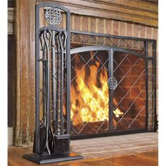 "44""W x 33""H 2-Door Celtic Knot Flat Fire Screen 