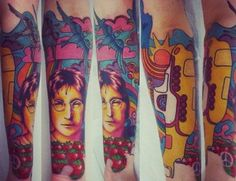 The Beatles arm inspired by song like Yellow Submarine - Tattoos and Tattoo Designs John Lennon Beatles, The Beatles, Santos Brazil, Beatles Tattoos, Tribute Tattoos, Paul Mccartney And Wings, Places For Tattoos, Arm Tats, Beatles Songs