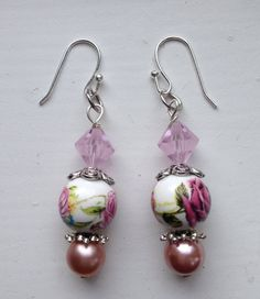 Custom Nostalgia Style Painted Rose Drop by goldenhandscreations, $16.00