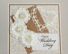Wedding Handmade Card / happy wedding day card / congratulations / flowers / heart / white, brown / damask