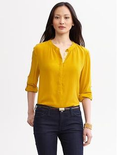 Grosgrain-trim silk blouse | Banana Republic
