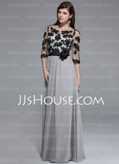 Evening Dresses - $156.99 - A-Line/Princess Scoop Neck Floor-Length Chiffon Tulle Charmeuse Evening Dress With Lace Flower(s) (017026209) http://jjshouse.com/A-Line-Princess-Scoop-Neck-Floor-Length-Chiffon-Tulle-Charmeuse-Evening-Dress-With-Lace-Flower-S-017026209-g26209