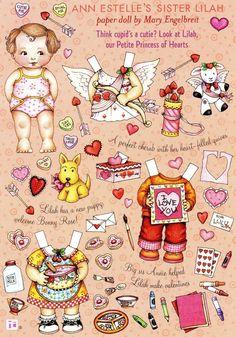 Mary Engelbreit Paper Doll Ann Estelle's Sister Lilah Puppy Valentine Theme   eBay