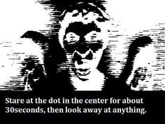 Wait... what? So scary. Stare at dot... look away... blink several times!