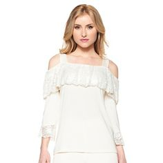 Slinky® Brand Cold-Shoulder Top with Lace Trim at HSN.com