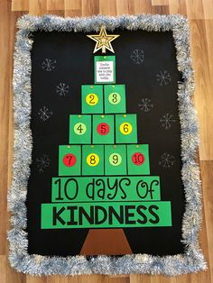 10 Days of Kindness - Christmas Bulletin Board Idea by My Teaching Pal December Bulletin Boards, Thanksgiving Bulletin Boards, Halloween Bulletin Boards, Christmas Bulletin Boards, Christmas Classroom Door, Winter Bulletin Boards, Kindergarten Christmas Bulletin Board, Preschool Bulletin, 10 Days Of Christmas