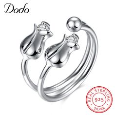 DODO Sterling-Silver-Jewelry Handmade Original Pure Natural Tulip Opening Rings Flowers Retro Magnolia Ring For Women Gifts SR22