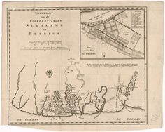 This 18th-century map shows the Dutch plantations in Suriname and Berbice. The map is oriented with the north at the bottom. The names ascribed to locations outside the neatly demarcated plantations suggest resistance to Dutch domination by local Indians, indentured servants, and slaves imported from Africa. (18e eeuw)