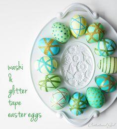 washi & glitter tape easter eggs