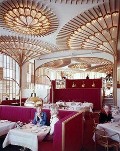 Incredible restaurant dining room by #WarrenPlatner.  Warren Platner
