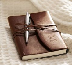Toscana handcrafted leather journal, made in Italy.  Avail. Pottery Barn