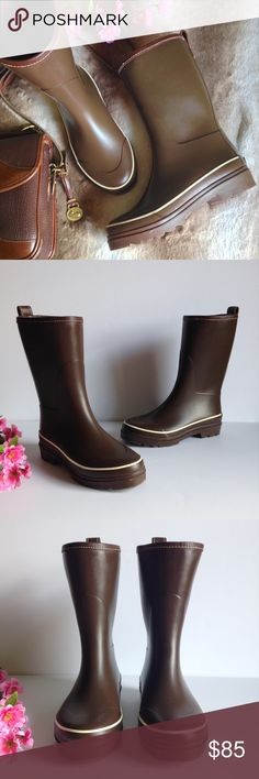 Coach Chocolate Brown Mid Calf Rain Boots Adorable mid calf rain boots from Coach, in chocolate brown. In excellent gently used condition, have been properly cleaned and conditioned, some minor wear as pictured, size 7. I happily entertain reasonable offers 😊🌸 Coach Shoes Winter & Rain Boots