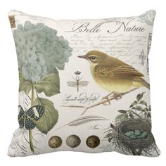 Modern vintage French bird and nest Throw Pillow. A modern collage of vintage natural and botanical images including a hydrangea, finch, butterfly and a nest of blue eggs. Perfect for a shabby-chic decor.