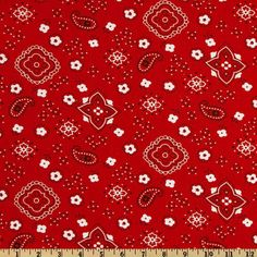 Bandana Prints Red from @fabricdotcom This cotton print features a bandana design in colors of red, white and black. Use for craft projects.