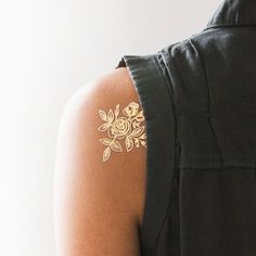 Gold Floral Temporary Tattoo by Tattly x Rifle Paper C