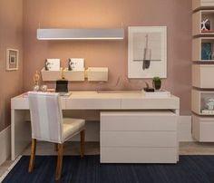 Inspiração decoração quarto feminino rosa - escrivaninha (Arquiteta: Paula Magnani)