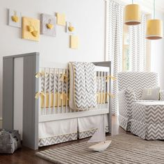 Gray, yellow, and white chevron nursery