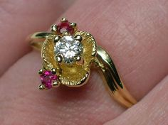 Diamond Engagement Ring Vintage 1970s Ruby Flower by AuldBaubles, $230.00