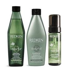 Redken Body Full. Uses a complex carbohydrate to 'fatten' the hair fiber. (Much like doughnuts fatten our rears ;) doesn't dry out the hair like other fine hair products. The instant bodifier can get starchy if over used. The conditioner provides just enough moisture to detangle, but not weigh down that great volume you desire.