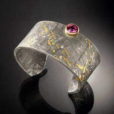 "Cuff |  Jacob Albee.  ""Galileo"". Gibeon Meteorite, 18k & 24k gold, Rubellite Tourmaline, and diamonds. | Photo by Rick Levinson of RLStudio."
