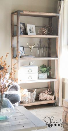 LOVE this DIY bookcase! Free plans and full how-to tutorial... The whole thing cost $100 to build! www.shanty-2-chic.com