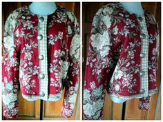 Vintage 80s Jacket Woven Cropped Floral Red by caligodessvintage