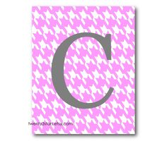 Personalized Houndstooth Monogram Print, You Choose the Colors, Cute in bedroom, living room, or nursery. $15.00, via Etsy.