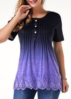 Womens Casual Tops Lace Panel Scalloped Hem Crinkle Chest T Shirt Stylish Shirts, Stylish Tops, Casual Tops, Trendy Tops For Women, Blouses For Women, Scalloped Hem, Blouse Designs, T Shirt, Tops Online