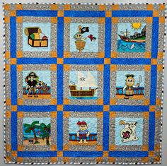 Pirate PDF applique quilt pattern; paper pieced pirate ship pattern; baby boy or child's quilt pattern; Ms P Designs USA by MsPDesignsUSA on Etsy