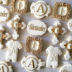 Baptism cookies for Alexander's special day 󾬕 Baby Cookies, Baby Shower Cookies, Fun Cookies, Sugar Cookies, Baptism Party Decorations, Baptism Themes, Baptism Ideas, Baby Boy Baptism, Baby Christening