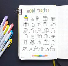Get your bullet journal mood trackers here! Check out these 52 very cool mood tracker ideas for your bullet journal! Bullet Journal Tracker, Bullet Journal Diy, Organization Bullet Journal, Bullet Journal Notebook, Bullet Journal Layout, Bullet Journals, Invisible Christmas Tree, Drawing Journal, Diy Papier