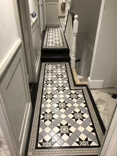 Victorian tiles are an elegant and original feature that will add value to your property. Victorian mosaic tiles supplay and installation Victorian Hallway Tiles, Victorian Mosaic Tile, Tiled Hallway, Victorian Pattern, Metal Floor, Tile Floor, Metal Railings, Geometric Tiles, House