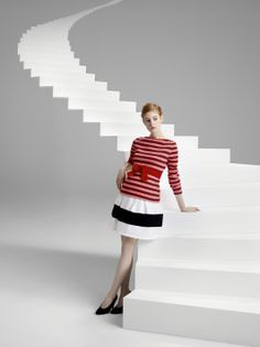 Our heavy jersey breton top paired with the heavy jersey bell-shaped skirt from the capsule collection designed by Christian Lacroix - #womenswear #ChristianLacroix #PetitBateau http://www.petit-bateau.fr?CMP=SOC_11732&SOU=&TYP=SOC&KW=pinterest