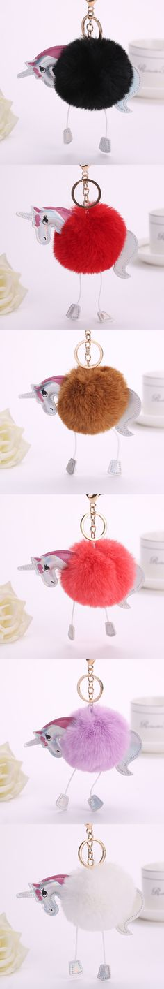 Lovely Fluffy Unicorn Keychain Pendant Cute Pompom Artificial Rabbit Fur Key Chain Bag Car Key Ring Hang Bag Accessories P20