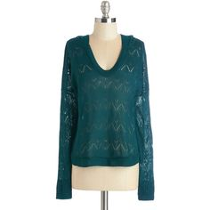 Long Sleeve Hoodie Couldn't Task for More Sweater (€29) ❤ liked on Polyvore featuring tops, modcloth, shirts, apparel, green, pullover, sweaters, teal shirt, hooded top and shirt top