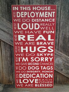 IN this House... We do DEPLOYMENT subway art home family military sign love Army Navy Air Force Marines patriotic america on Etsy, $28.00 Military Signs, Military Spouse, Military Families, Navy Mom, Army Life, Air Force, Subway Art, Sayings, Craft Ideas