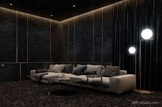 Home cinema. Home cinema. on Behance Home Theater Basement, Home Theater Room Design, Home Cinema Room, Home Theater Decor, Home Theater Rooms, Home Room Design, Interior Design Studio, Living Room Designs, Home Decor
